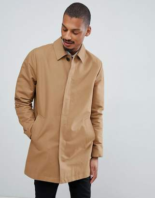 Asos DESIGN shower resistant single breasted trench in tobacco