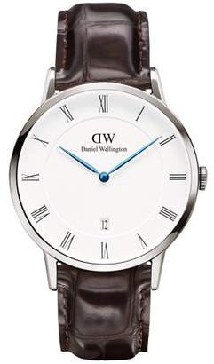 Daniel Wellington Dapper York Stainless Steel and Embossed Leather Strap Watch, 38mm