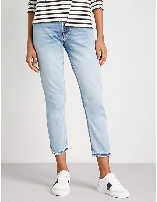 R13 Distressed skinny high-rise jeans