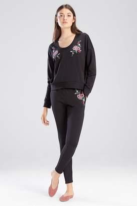 Josie Otherwear Fleece Embroidered Sweatshirt Top