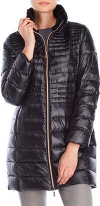 Karl Lagerfeld Faux Fur Trim Packable Down Coat
