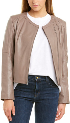 Cole Haan Asymmetrical Zip Leather Jacket