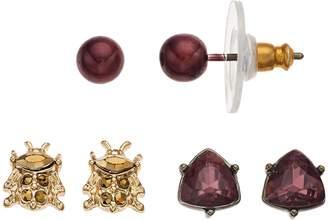 Vera Wang Simply Vera Red Beetle & Triangle Stud Earring Set
