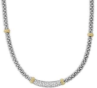 Lagos 18K Gold & Sterling Silver Diamond Lux Collar Necklace, 18""