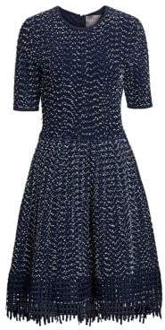 Lela Rose Women's Lace Hem Knit Dress - Navy - Size Medium