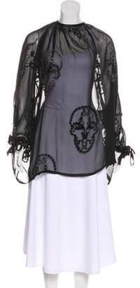 Thomas Wylde Velvet-Trimmed Silk Tunic