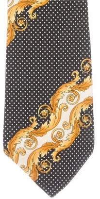 Gianni Versace Polka Dot Baroque Print Silk Tie