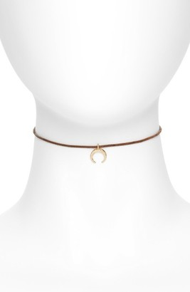 Women's Canvas Jewelry Leather Double Horn Choker $20 thestylecure.com