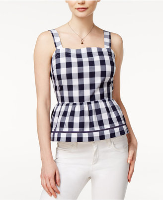 Maison Jules Cotton Gingham Peplum Top, Only at Macy's $59.50 thestylecure.com