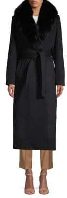 Sofia Cashmere Fox Fur-Trimmed Tie-Waist Long Coat