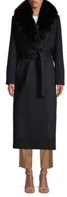 Sofia Cashmere Fox Fur-Trimmed Tie-Waist Long Coat