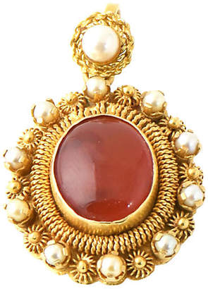 One Kings Lane Vintage 18K Gold & Carnelian Pendant - C. 1960 - Owl's Roost Antiques