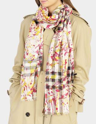 Burberry 220X70 Splash Gauze Giant Check Stole in Bright Yellow Wool and Mulberry Silk