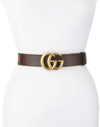 Gucci Wide Leather/Web Belt, Cocoa