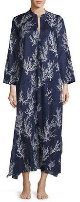 Natori Coral-Print Lounge Caftan, Blue Pattern $170 thestylecure.com