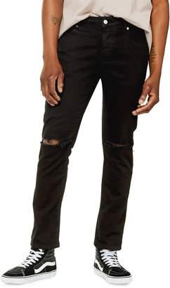 Topman Slim Black Double Knee Ripped Jeans