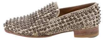 Christian Louboutin Snakeskin Rollerboy Spikes Loafers