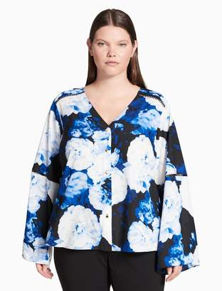 Calvin Klein plus size oversized floral long sleeve top
