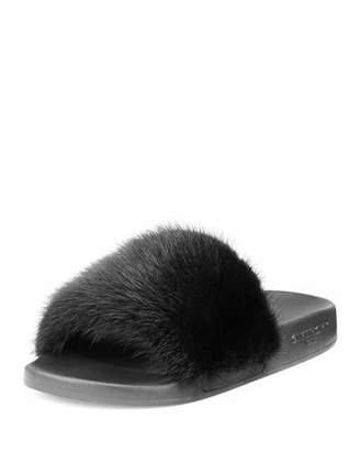 Givenchy Mink Fur & Rubber Slide Sandal, Black $595 thestylecure.com