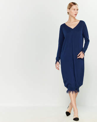 Liviana Conti Fringe Trim Sweater Dress