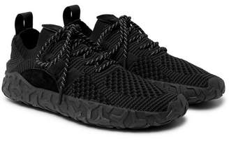 adidas F/22 Suede-Trimmed Primeknit Sneakers - Black