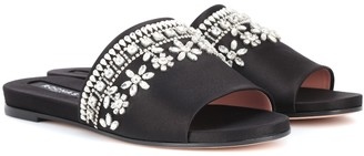 Rochas Embellished satin slides
