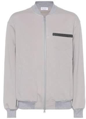 Brunello Cucinelli Embellished cotton-blend jacket