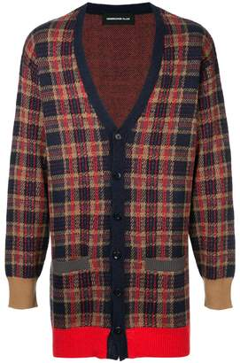 Undercover checked button cardigan