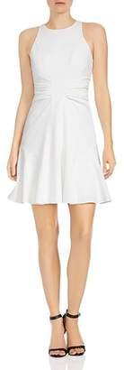Halston Ruched Crepe A-line Mini Dress