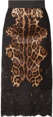 Dolce & Gabbana Lace And Leopard-print Charmeuse Midi Skirt - Black