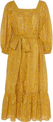 Lisa Marie Fernandez Laure Broderie Anglaise Cotton Midi Dress Size: 0