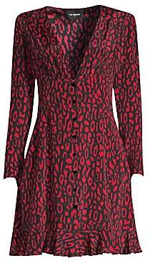 The Kooples Women's Animal Print A-Line Silk Dress