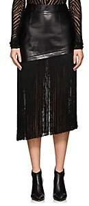 Helmut Lang Women's Fringe-Trimmed Leather Asymmetric Miniskirt-Blk