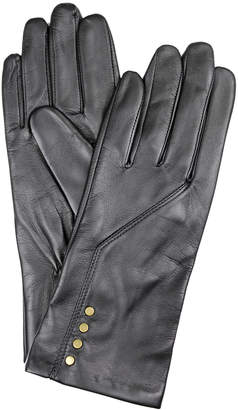 Dents Leather Gloves with Studs and Stitch Detail