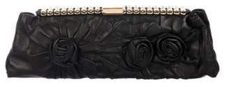 Valentino Floral-Embellished Leather Clutch
