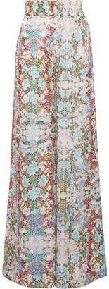 Pierre Balmain Floral-Print Cotton And Silk-Blend Wide-Leg Pants