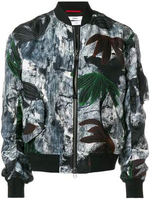 Oamc painterly floral bomber jacket
