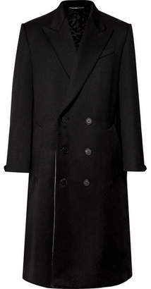 Givenchy Leather-trimmed Double-breasted Wool-blend Coat - Black