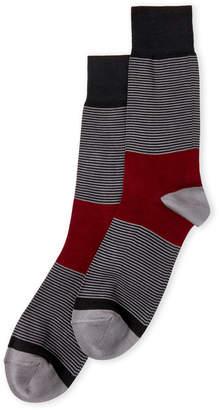 Bruno Magli Color Block Stripe Crew Socks