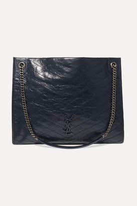 Saint Laurent Niki Large Quilted Crinkled Glossed-leather Tote - Navy