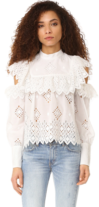 Sea Open Shoulder Ruffle Blouse $345 thestylecure.com
