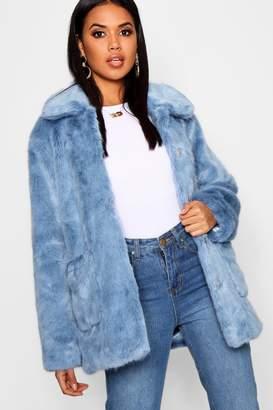 boohoo Luxe Collared Faux Fur Coat