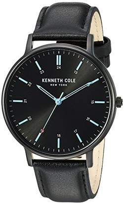 Kenneth Cole New York Men's 'Slim' Quartz Stainless Steel and Leather Casual Watch
