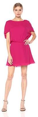 Halston Women's Short Cape Sleeve Round Neck Flowy Silk Dress