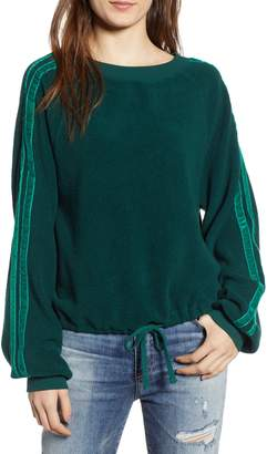 Pam & Gela Velvet Stripe Crop Fleece Sweatshirt