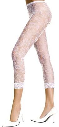 Music Legs Floral lace sheer spandex leggings 35046-WHITE