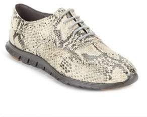 Cole Haan Wingtip-Toe Python-Embossed Oxfords