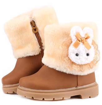 MOREMOO Baby Girls Infant Toddler Winter Fur Shoes Rabbit Warm Snow Boots 9-72 Months