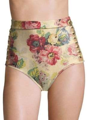 Zimmermann Women's Melody High Waist Bikini Bottom - Taupe Floral - Size 0 (XS)