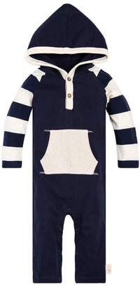 Burt's Bees Baby Rugby Stripe Hooded Organic One Piece Jumpsuit